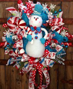 Whimsical Snowman Mesh Wreath by WilliamsFloral on Etsy Christmas Door Wreaths, Burlap Christmas, Holiday Wreaths, Winter Christmas, Holiday Crafts, Christmas Time, Christmas Decorations, Winter Wreaths, Aqua Christmas