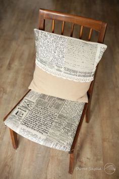 #owoceszycia Retro pillow, croched edge, upholstered trash chair - all handmade :)