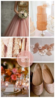 Love these rose gold wedding pieces. Especially the rose gold glitter shoes and dress!