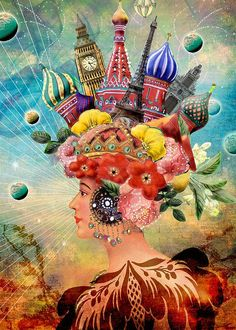 """Andrea Matus ~ """"Dreamscape"""", 2009 ~This Mixed Media Collage was part of a digital challenge. An original collage is scanned and then digitally manipulated. Art And Illustration, Illustrations, Fantasy Kunst, Fantasy Art, Mixed Media Collage, Collage Art, Digital Collage, Collages, Arte Fashion"""