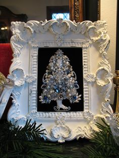 One of a Kind Framed Vintage Jewelry Christmas Tree Turquoise Rhinestone Pearls Jeweled Christmas Trees, Christmas Tree Art, Christmas Jewelry, Vintage Christmas, Christmas Decorations, Xmas Trees, Vintage Jewelry Crafts, Jewelry Tree, Women's Jewelry