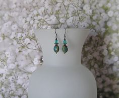 Teal  Dangle Earrings with Aqua and Honey Beads by SmockandStone, $15.00