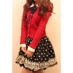 Korean Princess Wind Embroider Lace Gauze Skirt via Polyvore