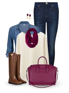 """""""Denim Blouse and a Sweater"""" by rarityx ❤ liked on Polyvore featuring Dr. Denim, Uniqlo, Valentino, Merona, Givenchy, Lucky Brand, women's clothing, women's fashion, women and female"""