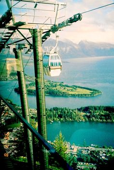 View of Queensland, New Zealand and cable car from our cable car - south island