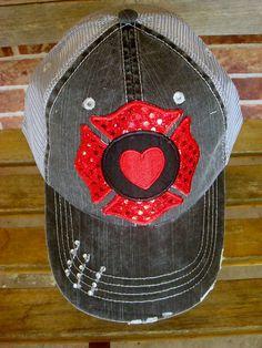 Firefighter Love- Distressed black baseball trucker cap on Etsy, $25.00