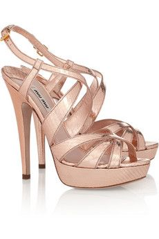 rose gold Mui Mui sandals