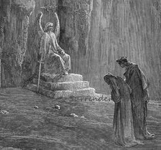 Purgatorio, Canto 9 Dante & Virgil At The Portals Of Purgatory Vintage Engraving by Gustave Dore'