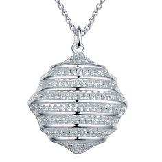Bola hueco de plata colgante de collar de la joyería de moda estilo de la calle linda mujer hermosa collar de regalo de cumpleaños de calidad…