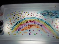 Painting on a homemade light table