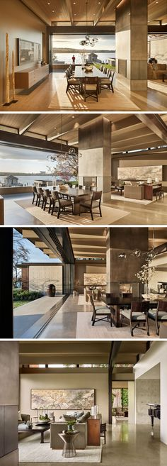 Inside this contemporary waterfront house, the great room of the house has a large dining area, a double-sided fireplace and a comfortable living room. This large room opens up to an expansive terrace and an existing teahouse. #InteriorDesign #GreatRoom #DiningRoom #LivingRoom #Fireplace