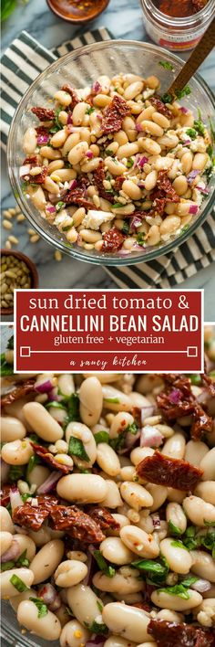 Creamy punchy and tangy Sun Dried Tomato & Cannellini Bean Salad - make in 15 minutes or less with minimal prep! Serve as a simple side as a snack or starter with bread or crackers or enjoy as a light lunch or dinner. Bean Recipes, Veggie Recipes, Salad Recipes, Vegetarian Recipes, Cooking Recipes, Healthy Recipes, Shrimp Recipes, Kitchen Recipes, Potato Recipes
