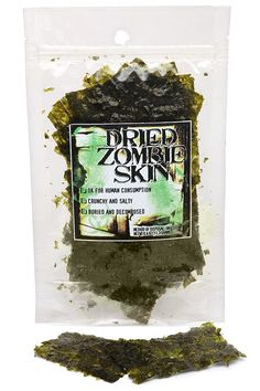 """Edible Dried Zombie Skin - Zombie Apocalypse Role Reversal Do you know the old saying, """"If you can not beat them, join them."""" Well here it goes with this zombie skin. They have been eating us for . Halloween Apothecary, Halloween Potions, Halloween Treats, Halloween Party, Halloween Labels, Halloween Zombie, Halloween Projects, Zombie Birthday Parties, Zombie Party"""