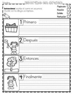 FREE - PRáCTICA DE SECUENCIAS CON DIBUJOS ¡GRATIS! - TeachersPayTeachers.com Dual Language Classroom, Bilingual Classroom, Bilingual Education, Spanish Classroom, Elementary Spanish, Teaching Spanish, Elementary Schools, Spanish Activities, Writing Activities