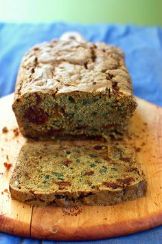 zucchini bread with dried sour cherries and sunflower seeds:replace gums with psyllium husk