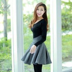 Black/Gray Long Sleeves Skater Dress / iWooz