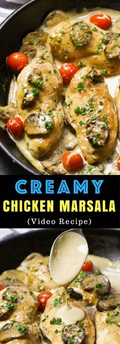 Creamy Chicken Marsala is a surprisingly easy weeknight dinner idea that will tantalize your taste buds with juicy chicken breasts in a creamy mushroom sauce flavored with marsala wine. And it's ready in under 30 minutes. Plus video tutorial! Best Chicken Recipes, Chicken Flavors, Beef Recipes, Cooking Recipes, Healthy Recipes, Chicken Ideas, Easy Weeknight Dinners, Quick Easy Meals, Easy Dinner Recipes