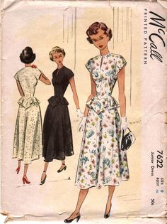 """Vintage Sewing Pattern - 40s - Junior DAY DRESS with Peplum and Slit Jewel Neckline- size 9 - bust 28"""" (71 cm) - McCall 7622. $15.00, via Etsy."""