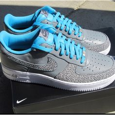 Grey/Light Blue Nike Air Force 1's  ~ Pretty color I like it.
