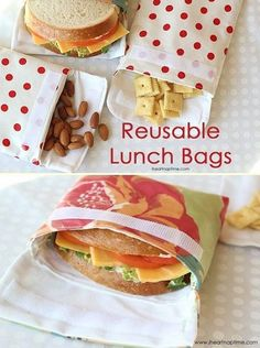 Reusable Lunch Bags (sewing tutorial) Diy Projects For The Home Bags Lunch Reusable sewing Tutorial Sewing Hacks, Sewing Tutorials, Sewing Tips, Bags Sewing, Tutorial Sewing, Sewing Notions, Sewing Ideas, Diy Couture Cadeau, Sac Lunch