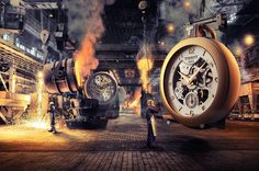 Plaza Watch   Giant Watches - Sven Prim • Surreal imagery of giant watches in industrial settings.