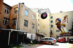 Lodz, Poland based street artists Bezt and Sainer teamed up and created gigantic murals on side building walls throughout Poland.