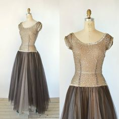 1940s Party Dress  Vintage Brown Sequin Bodice by DalenaVintage