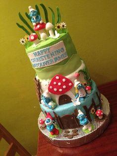 smurf christening cake  Cake by marius