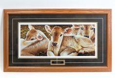`Brown Swiss Calves` 35 x 20 Framed Print by Jerry Gadamus