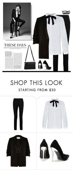 """Tie Neck Blouse"" by tawnee-tnt ❤ liked on Polyvore featuring Mode, Yves Saint Laurent, River Island, women's clothing, women, female, woman, misses, juniors und yoins"