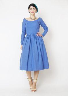 Vintage 1950s Blue Wool Dress 1950s Wool Winter by honeymoonmuse