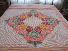 Vintage Chenille Bedspread Twin Size