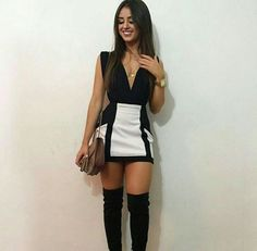 White and black outfit and long boots - ChicLadies. Skirt Outfits, Sexy Outfits, Sexy Dresses, Cool Outfits, Short Dresses, Fashion Outfits, Beautiful Outfits, Night Outfits, Spring Outfits