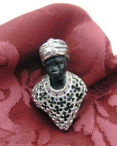 Blackamoor in Silver, ebony , amethysts - Dogale Jewellery Venice Italia