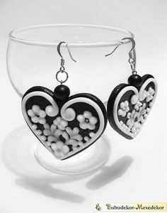 Gothic Wooden earrings Gingerbread Hearts hungarian by Bubudekor, $21.00