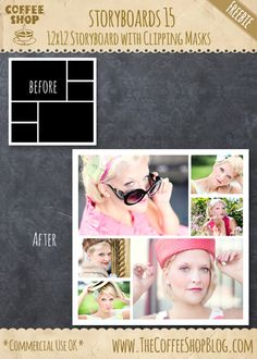 Full collection of storyboard and photo collage templates free from CoffeShop Photo Collage Board, Photo Collage Maker, Storyboard Template, Collage Template, Photoshop Elements, Photoshop Actions, Photoshop Overlays, Lightroom, Photocollage