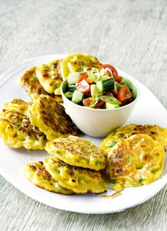 This dish is simple to prepare and makes perfect finger food for a light starter or low fat dinner. Sweetcorn pancakes are topped with a salad of avocado, cherry tomatoes.