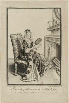 Jean Dieu de Saint-Jean (1654?-1695) - Femme de qualité en robe de chambre d'hyver, 1685 - Paris, Bibliothèque Nationale de France