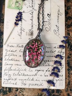 Heather Necklace, Peacock Feather, two sided necklace, Terrarium Necklace, Herbarium Necklace, Simple Jewelry, Boho Flower Jewellery,Bustani by BUSTANI on Etsy