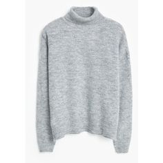 MANGO Funnel Neck Sweater (£39) ❤ liked on Polyvore featuring tops, sweaters, light heather grey, turtleneck sweater, mango sweater, turtle neck sweater, long sleeve tops and long sleeve sweaters