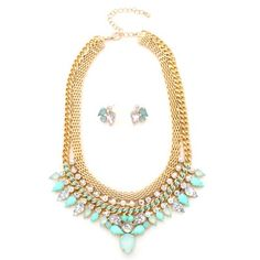 Minty Crystal Indian Statement Necklace And Earring Set
