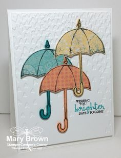 One set that I just HAD to have when the last new catalog came out was the Weather Together set. I just LOVE the umbrella in this! I have used the umbrella on a couple different cards but as I was… Paper Cards, Diy Cards, Umbrella Cards, Showers Of Blessing, Under My Umbrella, Beautiful Handmade Cards, Stamping Up Cards, Get Well Cards, Scrapbook Cards