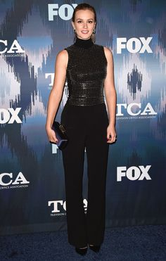 Leighton Meester in a black David Koma jumpsuit