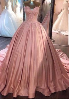 fcd45c28e6 On Sale Vogue Pink Prom Dresses Ball Gown Pink Strapless Appliques  Sweetheart Sweep Train Satin Evening Dresses Uk