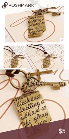 "Shakespeare love letter cross key Necklace ""NEW IN PACKAGING"".                                                        Shakespeare love letter cross key necklace Retro leather cord sweater chain  Specifics:  Pendant Size: 1 1/2""  Vintage Style  Material	Zinc Alloy Chain Type	Rope Chain Length	32-69cm /. 12""-27"" Metals Type	Zinc Alloy.         🌷Great for add on to bundle🌷 Jewelry Necklaces"
