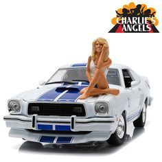 1:18 Scale Diecast - Charlie's Angels (TV 1976–81) 1976 Ford Mustang Cobra II - White w/ Blue Stripes And Farrah Fawcett Figure