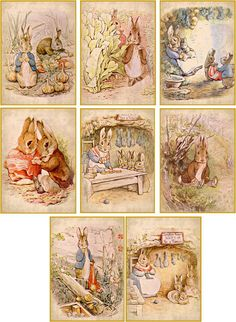 Vintage illustrations Beatrix Potter bunnies cards stationery set of 8  #Handmade #AnyOccasion