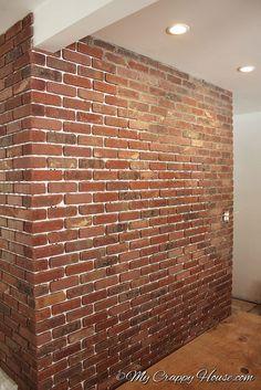 diy thin brick wall thin brick bricks and tutorials. Black Bedroom Furniture Sets. Home Design Ideas
