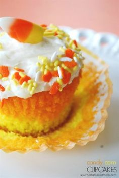 Candy Corn Cupcakes - your homebased mom - what a great idea to freeze the batter from the bottom   layer for 10 minutes so the colors don't mix!