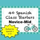 40 Activities to get your Novice-Mid students (Spanish I, Semester 2 or Spanish II, Semester 1) ready to work as soon as the bell rings!  Created i...